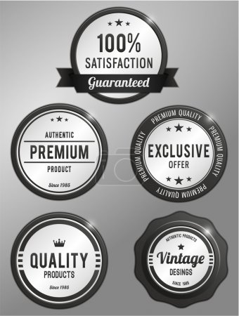 Illustration for Premium quality product, vintage, satisfaction, exclusive offer labels set - Royalty Free Image