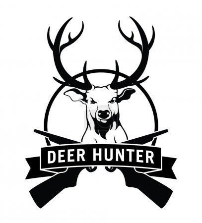 Illustration pour Badge étiquette chasseur de cerf - image libre de droit