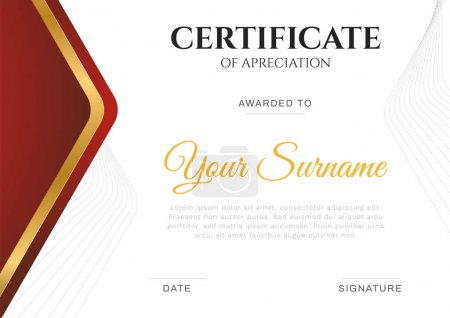 Illustration for Modern simple certificate in red and gold color with gold and border line vector template - Royalty Free Image