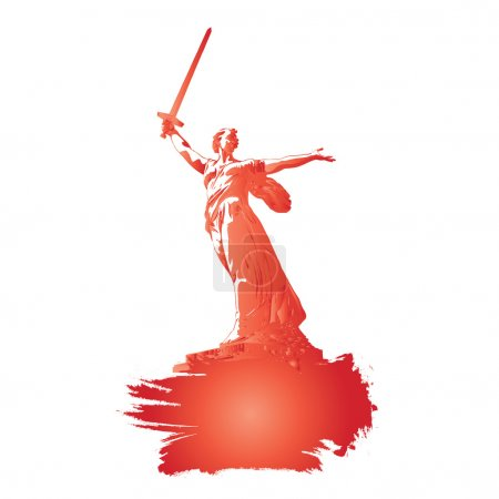 Sculpture Motherland-mother call on. Motherland Calls monument vector. May 9.