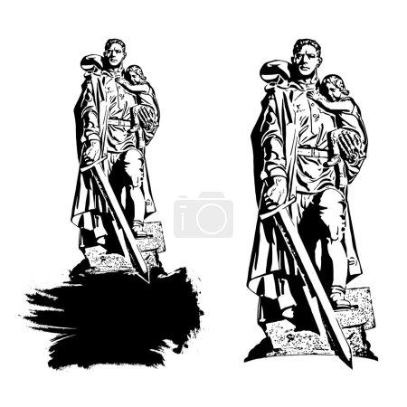 """Illustration pour """"Guerrier-libérateur """"- un monument au Treptow Park de Berlin. L'un des trois monuments commémoratifs de guerre soviétiques à Berlin. Le monument est un symbole de victoire dans la Grande Guerre patriotique et de libération des peuples d'Europe du fascisme. . - image libre de droit"""