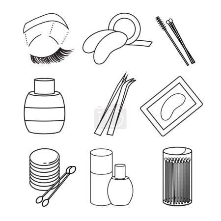 Illustration for Hygiene icons. eyelash Vector Art. Picture lash extentions signs. eye patches. tweezers. beauty and cosmetics. - Royalty Free Image
