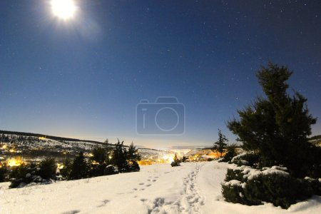 moon shining on a snowy hills and tree with luminous city