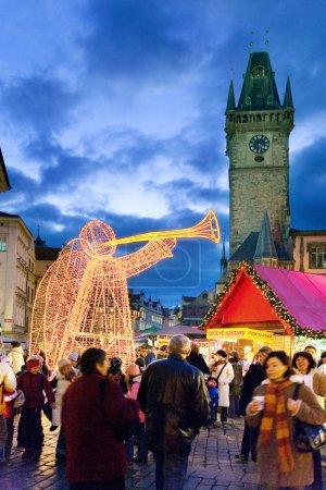Prague Christmas market on Old Town Square in Prague, Czech republic