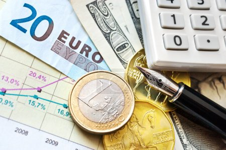 Dollar, Euro currency and Czech crown money - exchange rate