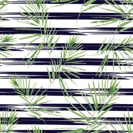 Motif feuilles de palmier. Sans couture, modèle d'aquarelle, peint main. Fond de vecteur