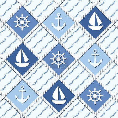 Marine themed seamless pattern with anchors