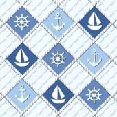 Marine theme Blue sea seamless pattern