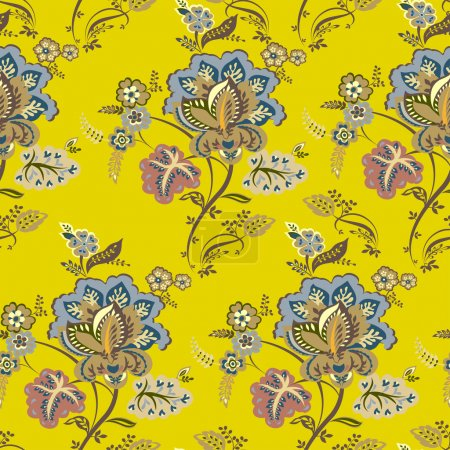 Vintage floral pattern, autumn background in yellow