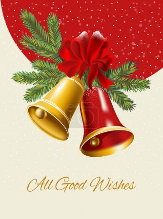 Ghristmas background. Festive  bells  with Christmas holly
