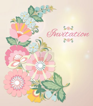 Beautiful floral invitation card. eps10