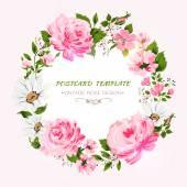 "Постер, картина, фотообои ""Border of flowers with all good wishes text. """