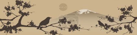 Illustration for Japanese design with Fuji mountain and Sakua Tree. - Royalty Free Image