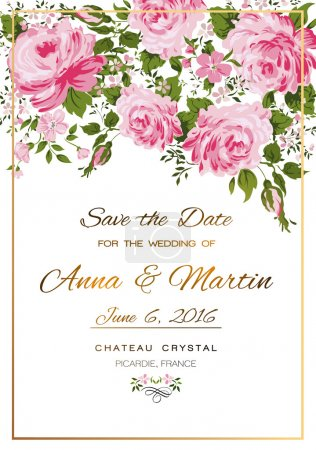 Illustration for Floral vector vintage invitation with pink roses. - Royalty Free Image