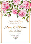 Floral vector vintage invitation with pink roses