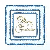 Watercolor gold frame with Merry Christmas calligraphy wishes
