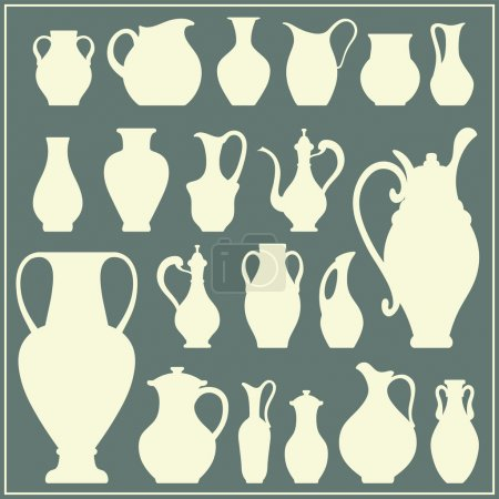 Vector silhouettes of vases. Isolated crockery set
