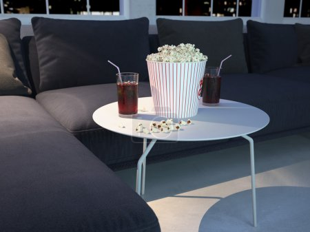 movie evening with popcorn and soda. 3d rendering