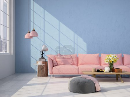 Photo for Contemporary living room loft interior. 3d rendering - Royalty Free Image