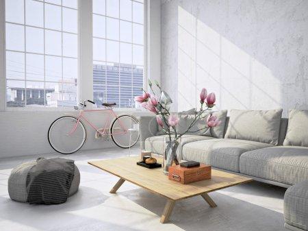 Photo pour Intérieur de salon contemporain de loft. rendu 3D - image libre de droit