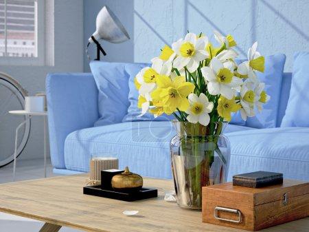 Photo pour Salon contemporain loft intérieur. Rendu 3d - image libre de droit