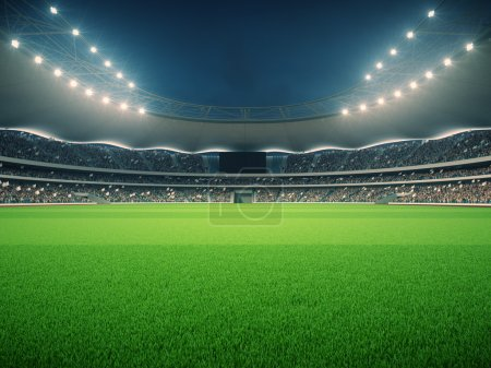 stadium with fans the night before the match. 3d rendering