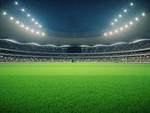 """Постер, картина, фотообои """"Стадион с болельщиками ночь перед матчем. 3D визуализация"""""""