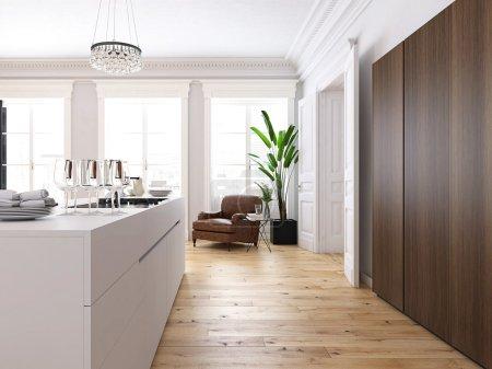 Foto de Render 3D. Moderno loft con cocina y sala de estar. - Imagen libre de derechos