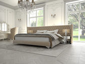 Interior of a classic style bedroom in luxury villa. 3d rendering