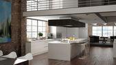 Modern loft with a kitchen. 3d rendering