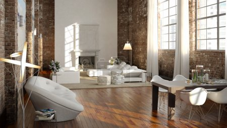 Big and comfortable living room in a loft apartment with bright sofa. 3d rendering