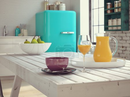 Kitchen in a vintage apartment with coffee and juice. 3d rendering
