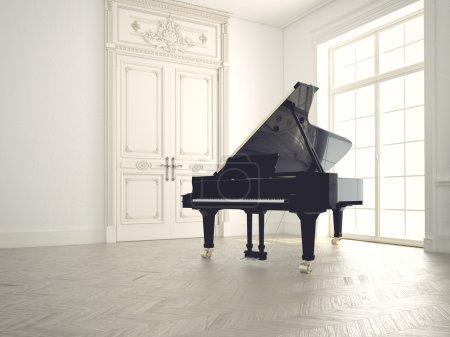 piano in a n empty room.3d rendering