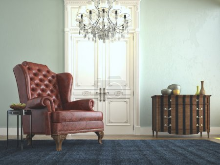 Beautiful vintage sofa next to grung wall. 3d rendering