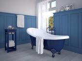 Vintage beige color bathroom with a golden sanitary engineering. 3d rendering