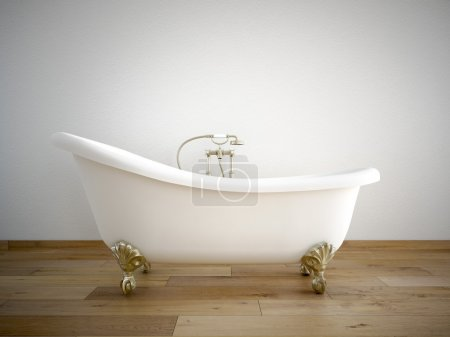 Vintage bath tube in a room with white wall. 3d rendering