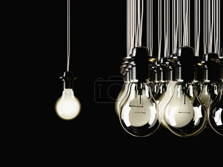 Photo for Illuminated fluorescent light bulbs connected to electrical cable on black background - Royalty Free Image
