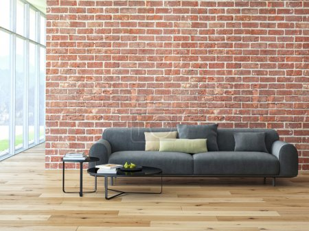 Photo for Loft interior with brick wall and coffee table. 3d rendering - Royalty Free Image