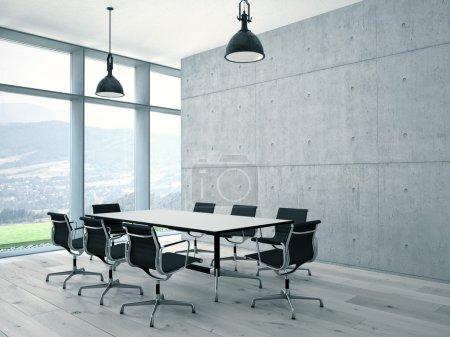 Photo pour Intérieur de la salle de conférence avec mur en béton. Rendu 3d - image libre de droit