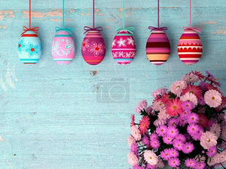 Photo for Hand-painted easter eggs with tulips  on wooden background - Royalty Free Image