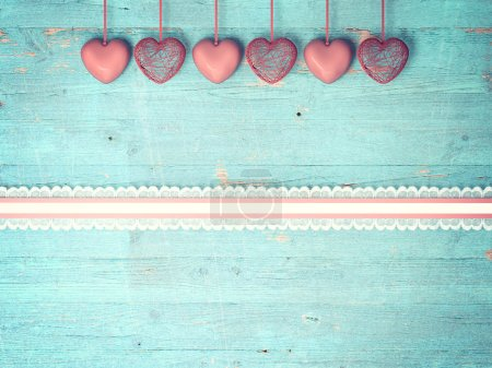 Red heart on wooden background, Valentines Day bac...