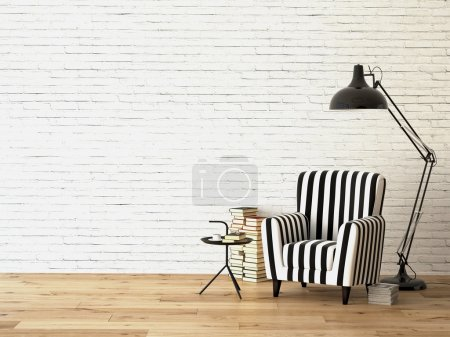 Photo for Living room with an armchair, lamp and books, 3d rendering - Royalty Free Image