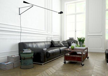 Photo pour Salon avec un canapé moderne dans un appartement. Rendu 3d - image libre de droit