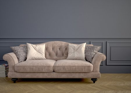 Photo for Beautiful vintage sofa next to wall. 3d rendering - Royalty Free Image