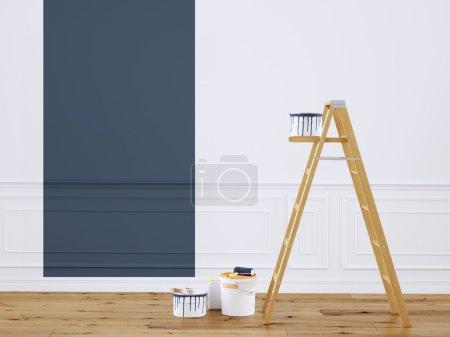 Photo pour Peindre les murs dans la pièce avec l'échelle. Rendu 3d - image libre de droit