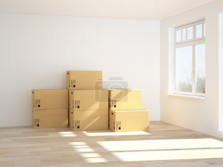 Interior with moving boxes in empty white room. 3d rendering