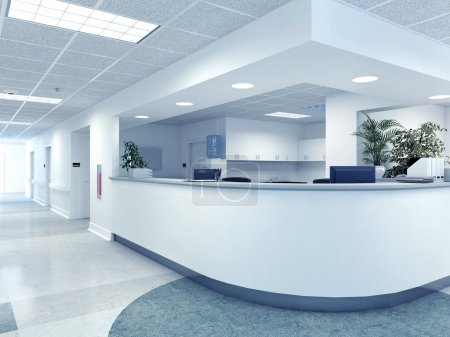 Photo for A very clean hospital interior. 3d rendering - Royalty Free Image