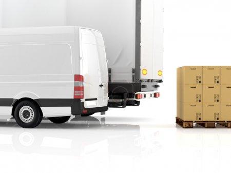 Photo pour Un chariot élévateur chargeant un camion. Rendu 3d - image libre de droit