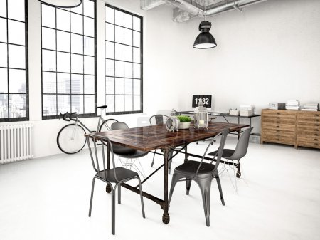 Photo for 3d rendering of a modern industrial style loft - Royalty Free Image