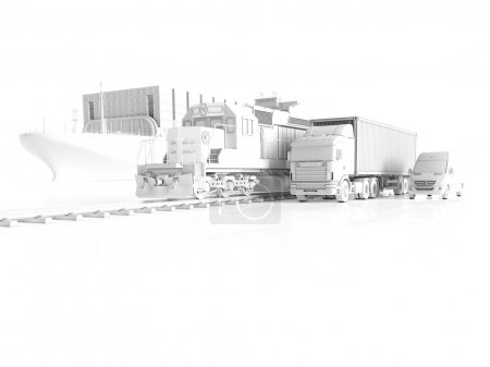 Photo for Freight train and truck as transportation concept. 3d rendering - Royalty Free Image